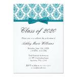 Teal Blue Damask Bow Graduation Announcement
