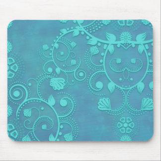 Teal Blue Damask Floral Design Mousepads
