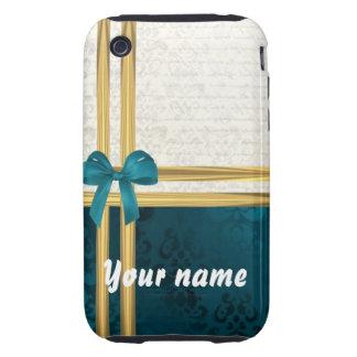 Teal blue damask & gold ribbon customizable iPhone 3 tough case