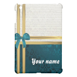 Teal blue damask & gold ribbon customizable iPad mini case