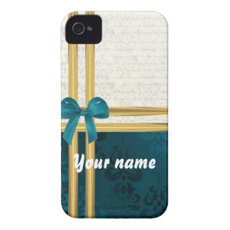 Teal blue damask & gold ribbon customizable iPhone 4 Case-Mate case
