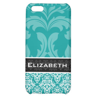 Teal Blue Damask iPhone 4 Case With Your Name