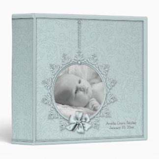 Teal Blue Damask Photo Baby Album 3 Ring Binder