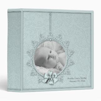 Teal Blue Damask Photo Baby Album Vinyl Binder