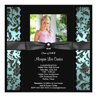 Teal Blue Damask Photo Graduation Card