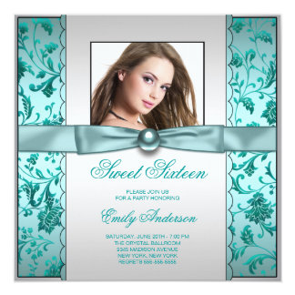 Teal Blue Damask Photo Sweet Sixteen Birthday Card