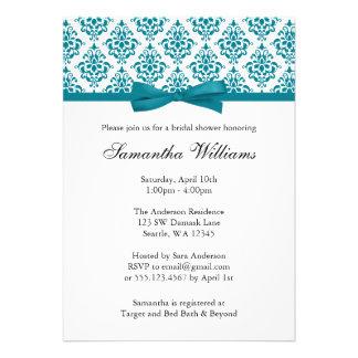 Teal Blue Damask Ribbon Bow Bridal Shower Invitation