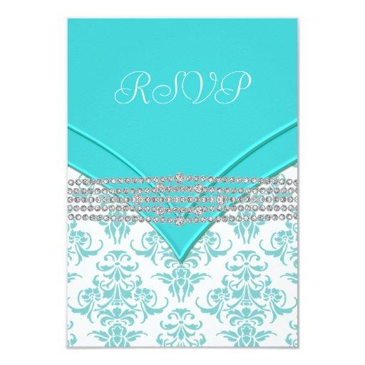 Teal Blue Damask RSVP 3.5x5 Paper Invitation Card