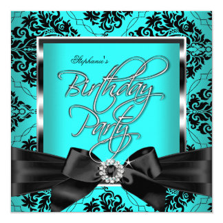 Teal Blue Damask Silver Black Birthday Party Card