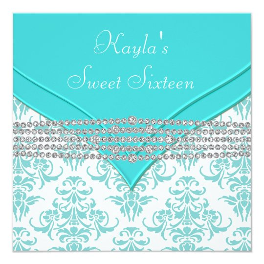 Teal Blue Damask Sweet 16 Party Card