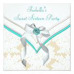 Teal Blue Damask Sweet 16 Party Invitation