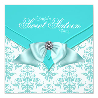 Teal Blue Damask Sweet 16 Party Custom Invitation