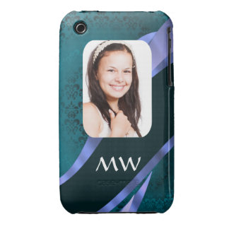 Teal blue damask swirl iPhone 3 case