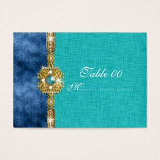 teal blue damask table placement guests business card