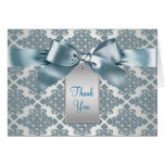 Teal Blue Damask Thank You Cards
