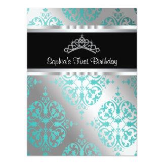 Teal Blue Damask Tiara Princess First Birthday Par 6.5x8.75 Paper Invitation Card