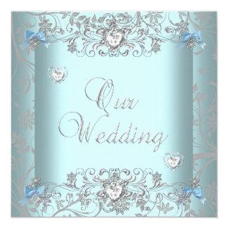 Teal Blue Damask Wedding Silver Diamond Hearts Card