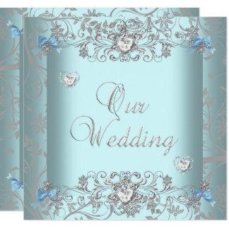 Teal Blue Damask Wedding Silver Diamond Hearts Invitation