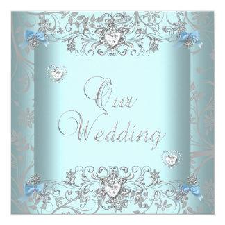 "Teal Blue Damask Wedding Silver Diamond Hearts 5.25"" Square Invitation Card"