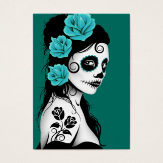 Teal Blue Day of the Dead Sugar Skull Girl Business Card