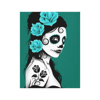 Teal Blue Day of the Dead Sugar Skull Girl Canvas Print