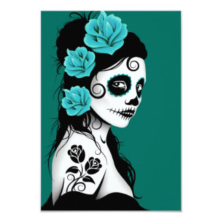 Teal Blue Day of the Dead Sugar Skull Girl Card