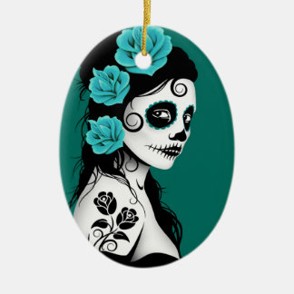 Teal Blue Day of the Dead Sugar Skull Girl Ceramic Ornament