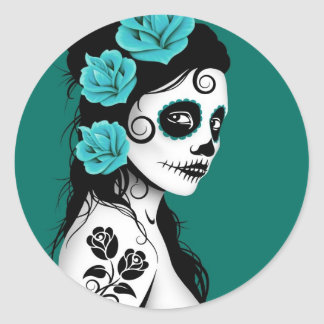 Teal Blue Day of the Dead Sugar Skull Girl Classic Round Sticker