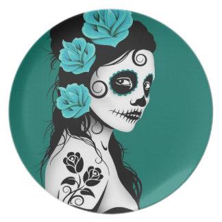 Teal Blue Day of the Dead Sugar Skull Girl Dinner Plate