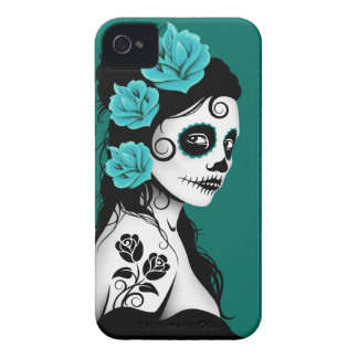 Teal Blue Day of the Dead Sugar Skull Girl iPhone 4 Case-Mate Case
