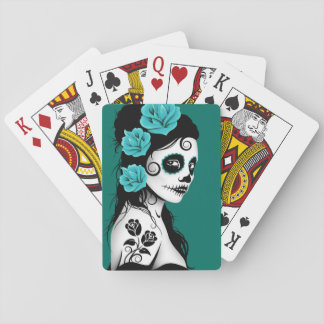 Teal Blue Day of the Dead Sugar Skull Girl Playing Cards