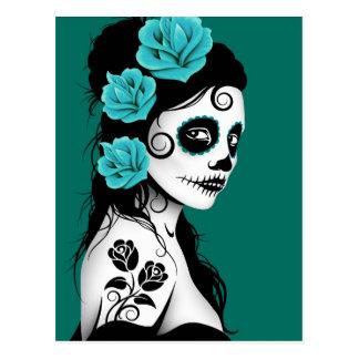Teal Blue Day of the Dead Sugar Skull Girl Postcard