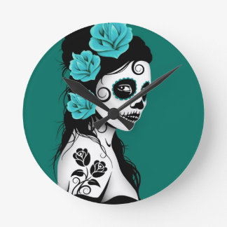 Teal Blue Day of the Dead Sugar Skull Girl Round Clock