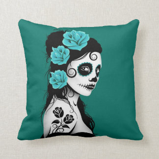 Teal Blue Day of the Dead Sugar Skull Girl Throw Pillow
