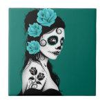 Teal Blue Day of the Dead Sugar Skull Girl Tile