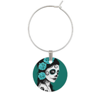 Teal Blue Day of the Dead Sugar Skull Girl Wine Charm