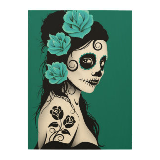 Teal Blue Day of the Dead Sugar Skull Girl Wood Wall Art