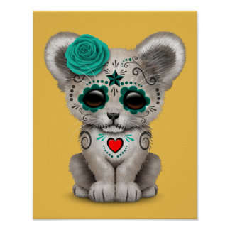 Teal Blue Day of the Dead Sugar Skull Lion Cub Poster