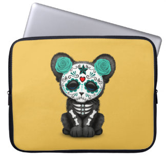 Teal Blue Day of the Dead Sugar Skull Panther Cub Laptop Sleeve