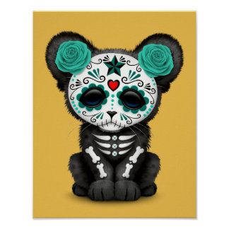 Teal Blue Day of the Dead Sugar Skull Panther Cub Poster