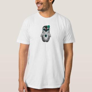 Teal Blue Day of the Dead Sugar Skull Penguin T-Shirt