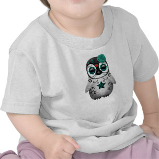 Teal Blue Day of the Dead Sugar Skull Penguin Tees
