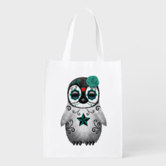 Teal Blue Day of the Dead Sugar Skull Penguin Grocery Bags