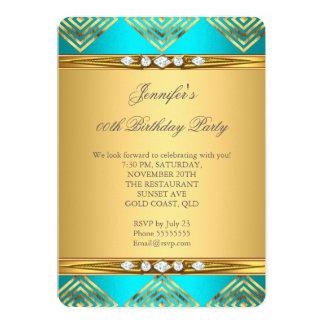 Teal Blue Deco Stripe Gold Diamond Party 5x7 Paper Invitation Card