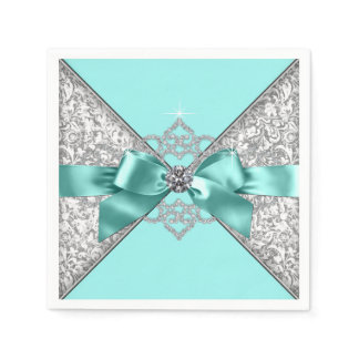 Teal Blue Diamond Bow Napkin