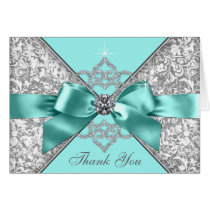 Teal Blue Diamond Bow Thank You