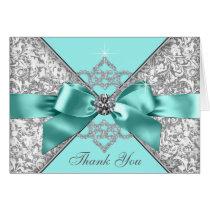 Teal Blue Diamond Bow Thank You Card