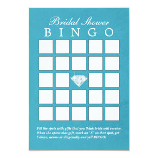 Teal Blue Diamond Bridal Shower Bingo Cards