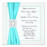 Teal Blue Diamond Ivory Wedding Invite