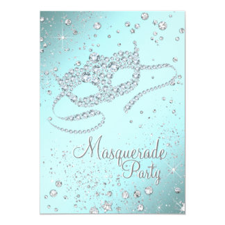 Teal Blue Diamond Mask Masquerade Party 5x7 Paper Invitation Card